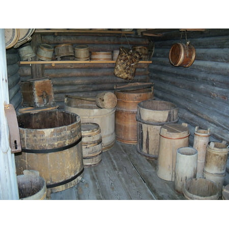 Canvas Print Pioneer Storage Store Room an Keg Barrels Cask Stretched Canvas 10 x 14