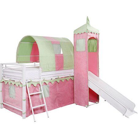 girl 39 s castle tent twin metal loft bed with slide under bed storage white. Black Bedroom Furniture Sets. Home Design Ideas