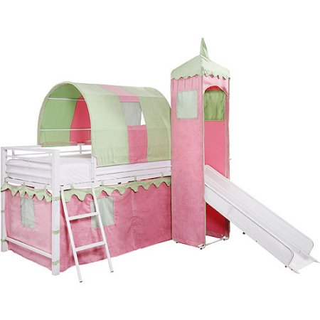Girl's Castle Tent Twin Metal Loft Bed with Slide & Under Bed Storage, White