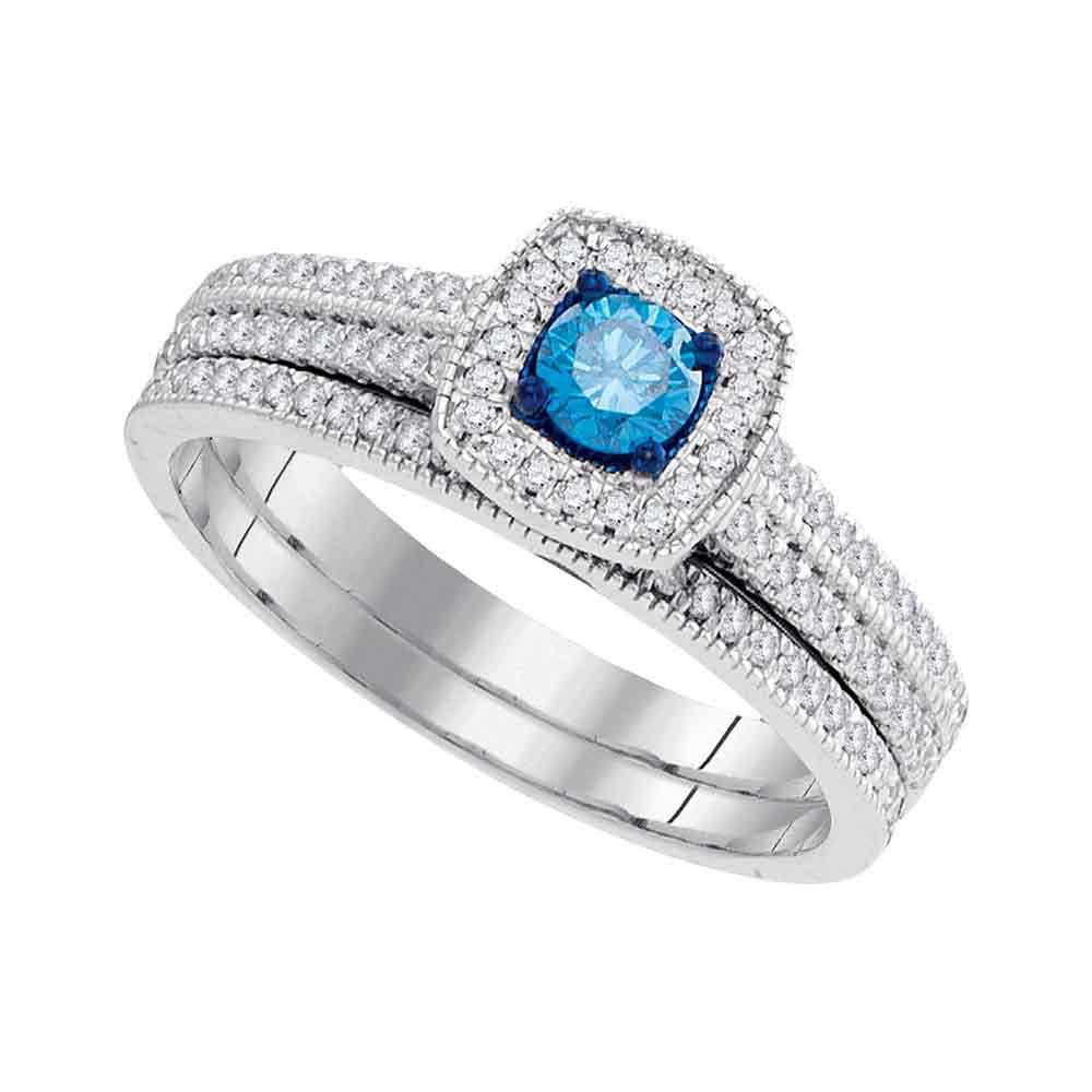 10kt White Gold Womens Round Blue Colored Diamond Bridal ...