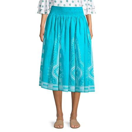 Border Medallion Midi Skirt Dkny Jeans Womens Skirt