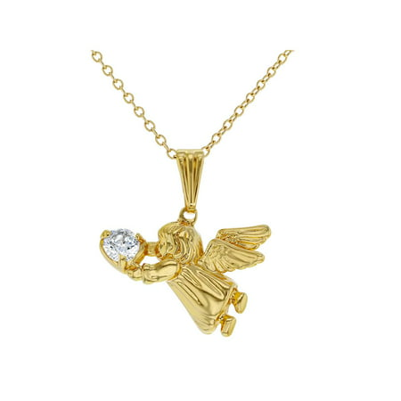 In Season Jewelry 18k Gold Plated Guardian Angel Pendant Necklace Kids Girls Children CZ 16