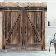 Rustic Shower Curtain, Wooden Barn Door in Stone Farmhouse Image Vintage Desgin Rural Art Architecture Print, Fabric Bathroom Set with Hooks, Beige, by Ambesonne