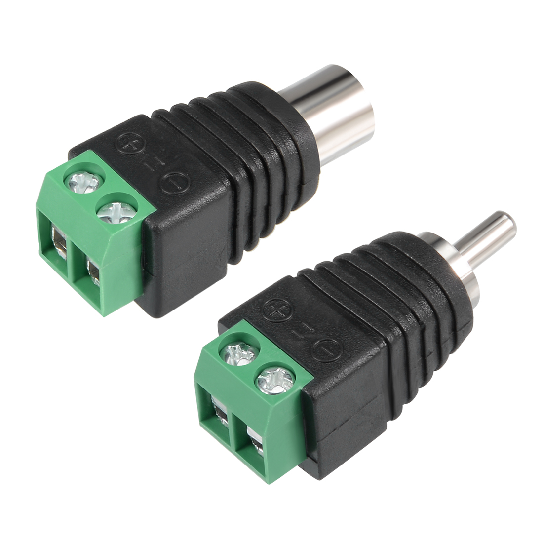 2Pcs RCA Male/Female Connector to AV 2-Screw Terminal Audio Video Adapter CCTV