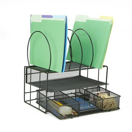 Mind Reader 5 Ring 2 Tier Mesh Desk Organizer, Document Holder, Magazine Storage, Desktop File Organizer, Black Tier Desktop Magazine Holder