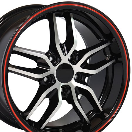 18x10.5 Wheel Fits Chevy Camaro Deep Dish Stingray Style Rim Black with Machined Face & Red - Amp Kit Black Face