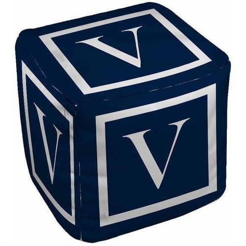Thumbprintz Classic Block Monogram Pouf, Blue