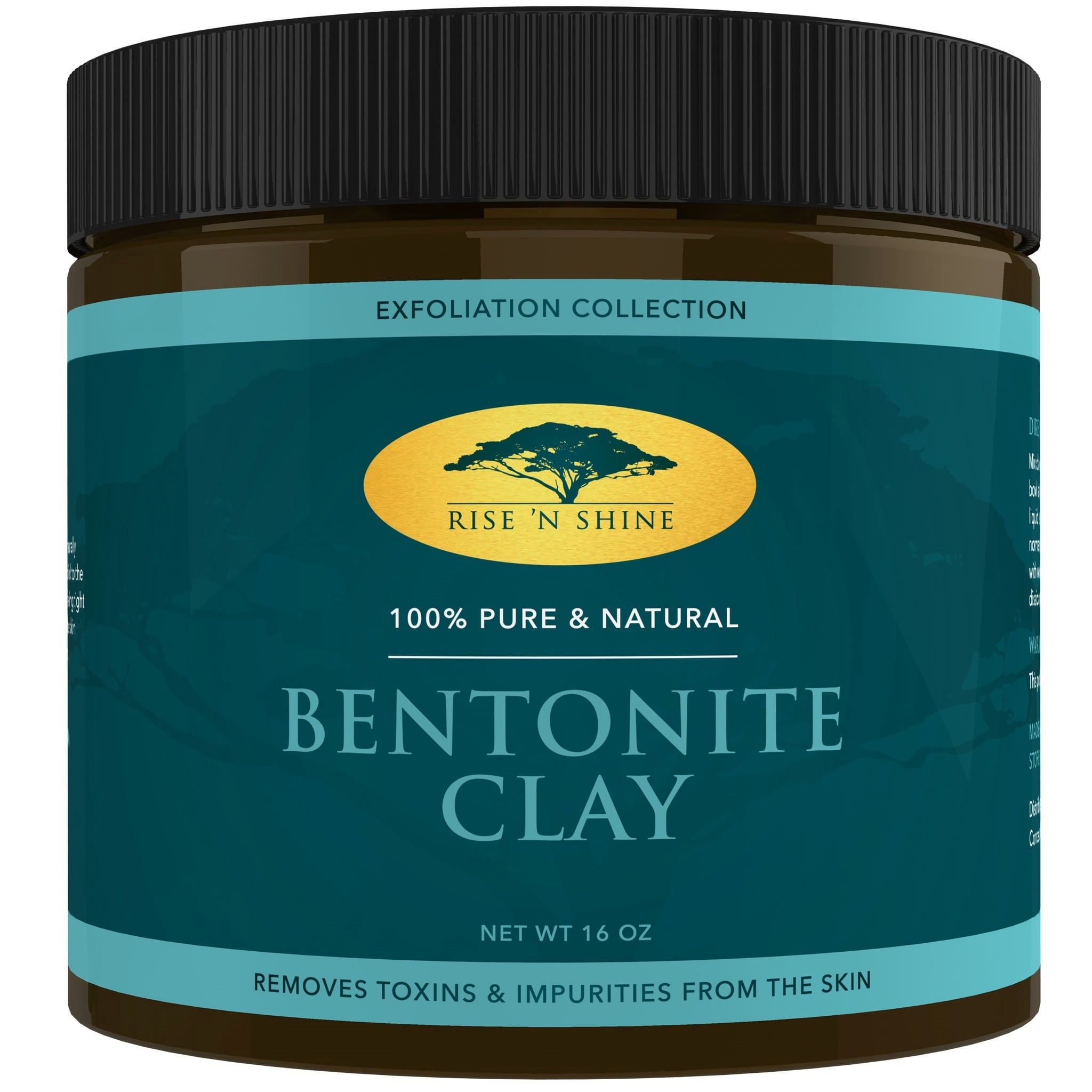 Rise 'N Shine  Bentonite Indian 16 oz. Healing Clay All Natural Face Mask Detox, Skin Pore Cleansing and Rejuvenates Skin