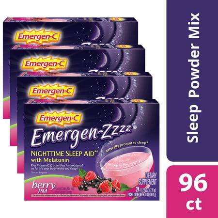 (2 pack) Emergen-c Emergen-zzzz Vitamin C with Melatonin, Berry PM, (96 Ct Total) (Animal Pm Supplements)