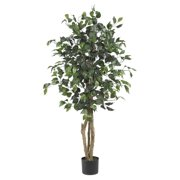 Nearly Natural 4 Ft. Artificial Ficus Silk Tree, Green