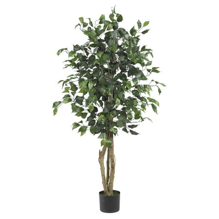 Nearly Natural 4 ft. Artificial Ficus Silk Tree, (5 Schefflera Silk Tree)