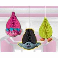 Trolls Honeycomb Decorations (3pc)