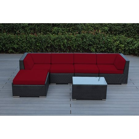 Ohana 6 Piece Outdoor Wicker Patio Furniture Sectional Conversation Set - Black Wicker ()
