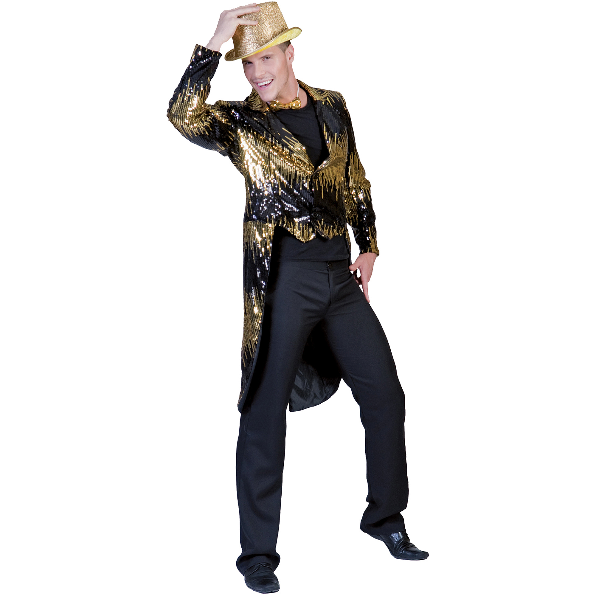 Gold Glitter Tailcoat Adult Halloween Costume
