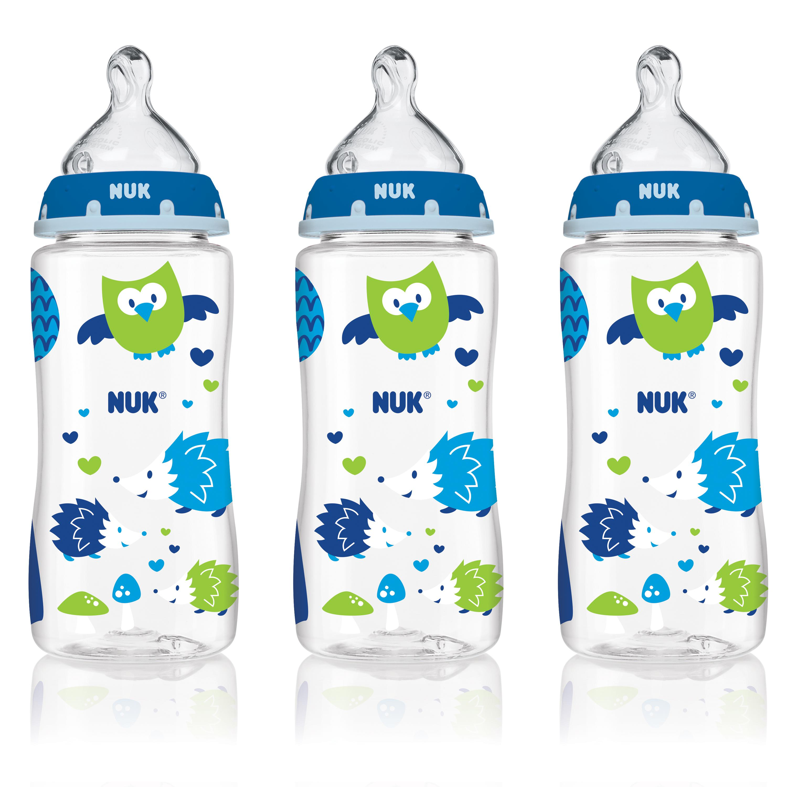 NUK Woodlands Baby Bottle with Perfect Fit Nipple, 10 oz, 3-Count , Medium Flow, Boy Design