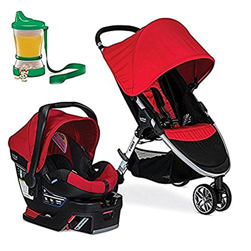 Britax 2017 B-Agile B-Safe 35 Travel System, Red & Non-Spill Cup and Snack Container(Colors May Vary) by Britax