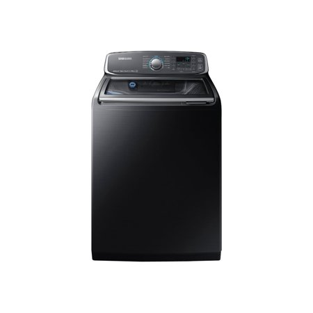 samsung wa52m7750av - washing machine - freestanding - width: 27 in - depth: 29.3 in - height: 46 in - top loading - 5.2 cu. ft - 800 rpm - black stainless steel