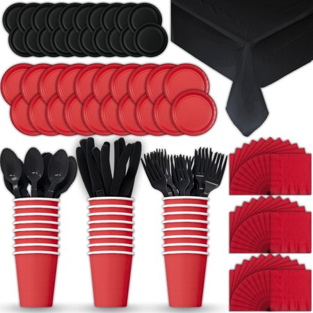 Halloween Tableware Set (Paper Tableware Set for 24 - Red & Black - Dinner and Dessert Plates, Cups, Napkins, Cutlery (Spoons, Forks, Knives), and Tablecloths - Full Two-Tone Party Supplies)