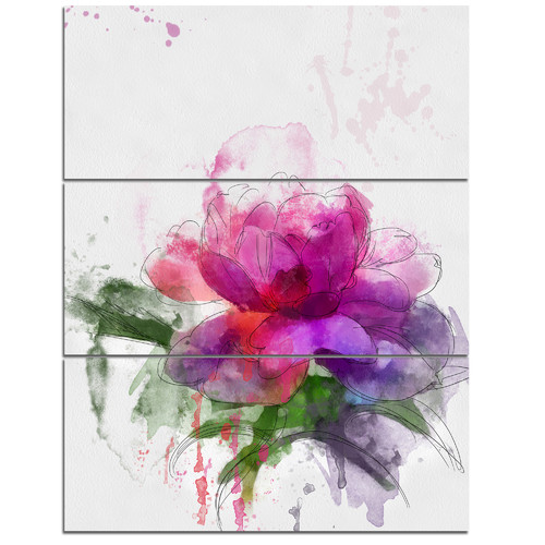 Design Art 'Purple Peony Illustration Sketch' 3 Piece Wall Art on Wrapped Canvas