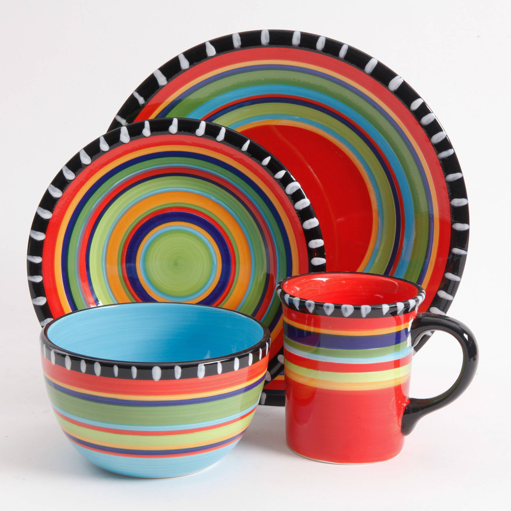 Gibson Home Pueblo Springs Handpainted 16-Piece Dinnerware Set Multi-Color - Walmart.com : multi colored dinner plates - pezcame.com