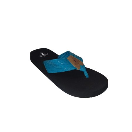 Birthstone Flip Flop - Corkys Womens Lumi EVA Flip Flop Sandal (Turquoise, 7)