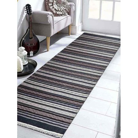 13' Wool - Rugsotic Carpets Hand Weave Kelim Woolen 10' x 13' Contemporary Area Rug Charcoal White D00119-Color:Charcoal White,Material:Kilim,Shape:Runner,Size:3' x 13'