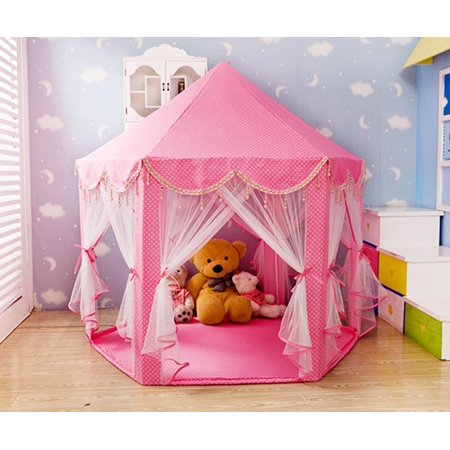 girls pink princess castle play tents children indoor outdoor large tent playhouse perfect. Black Bedroom Furniture Sets. Home Design Ideas