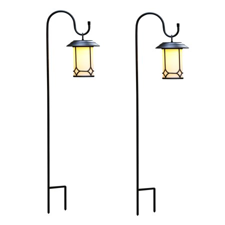 Set Of 2 Clical Hanging Solar Lanterns With Shepherd S Hooks