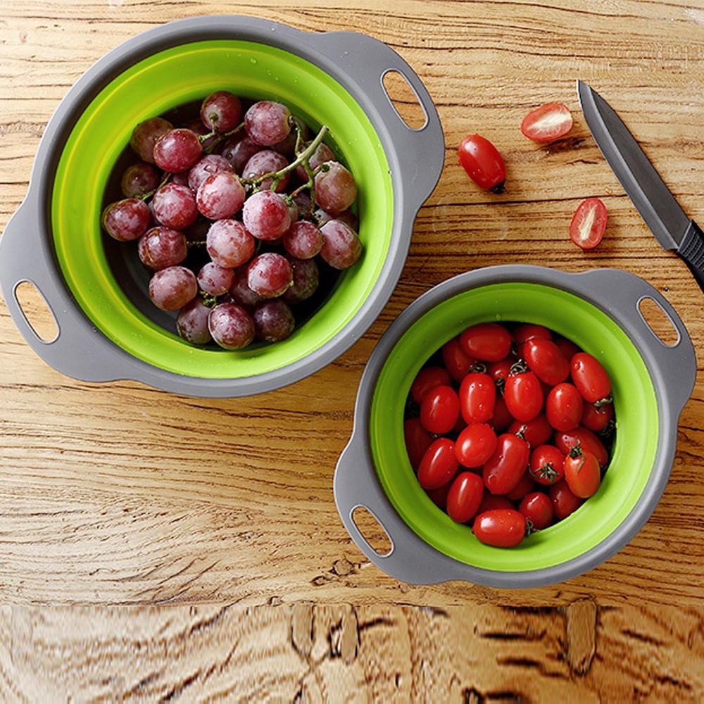 Mosunx Foldable Silicone Colander Fruit Vegetable Washing Basket Strainer Kitchen