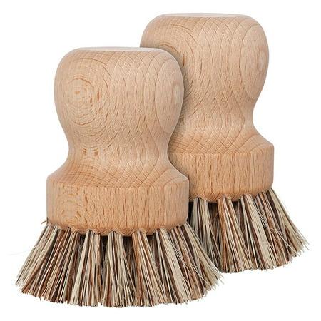 Reactionnx 1 pcs Natural Fiber Pot Brush, Durable Beechwood Handle with Heat Resistant Union Fiber Head Union Fiber Brush