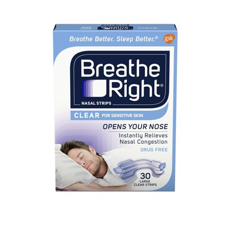 Breathe Right Nasal Strips to Stop Snoring, Drug-Free, Large, Clear for Sensitive Skin, 30