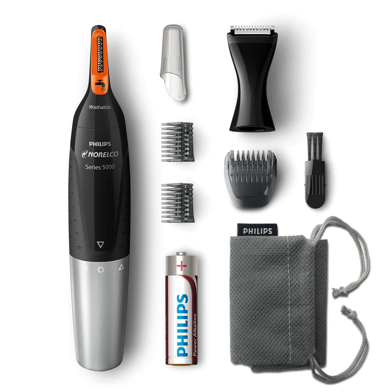Norelco Nose Trimmer with Advanced Protec-Tube Technology With DualCut Detail Trimmer & Facial Styling BONUS FREE Battery and Carry Pouch Included