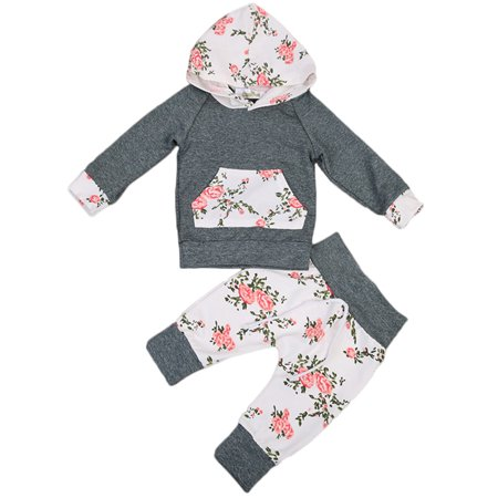 a63d17f753a6 Infant Baby Girl Floral Pattern Long Sleeve Hoodie and Pants 2 pcs ...