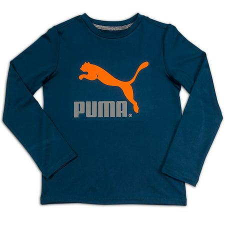 Puma 8 20 Boys Long Sleeve Top No 1 Logo Tee Blue And