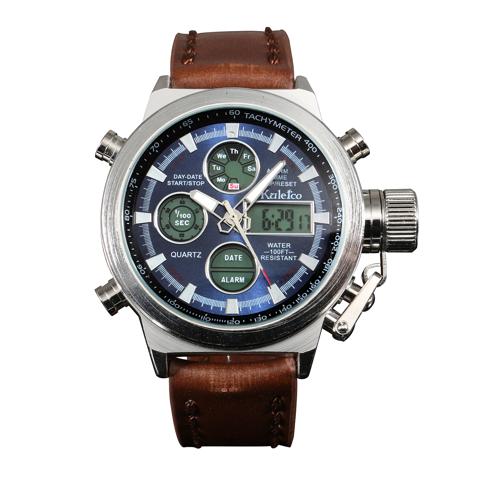 Multifuction Quartz Army Men Digital Watch Dual Core Blue Dial Brown Leather