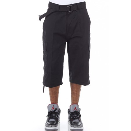 - Mens Basic Belted Hip Hop Long Cargo Shorts P210AS-30-Black