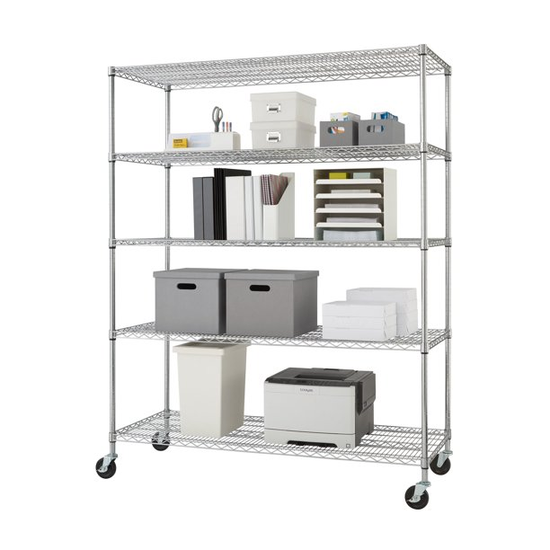 Trinity 60 W X 24 D X 72 H 5 Shelf Nsf Wire Shelving Unit With Wheels 4000 Lb Capacity Chrome Walmart Com Walmart Com