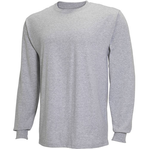 Fruit of the Loom Mens Long Sleeve Crew T-shirt with Rib Cuffs