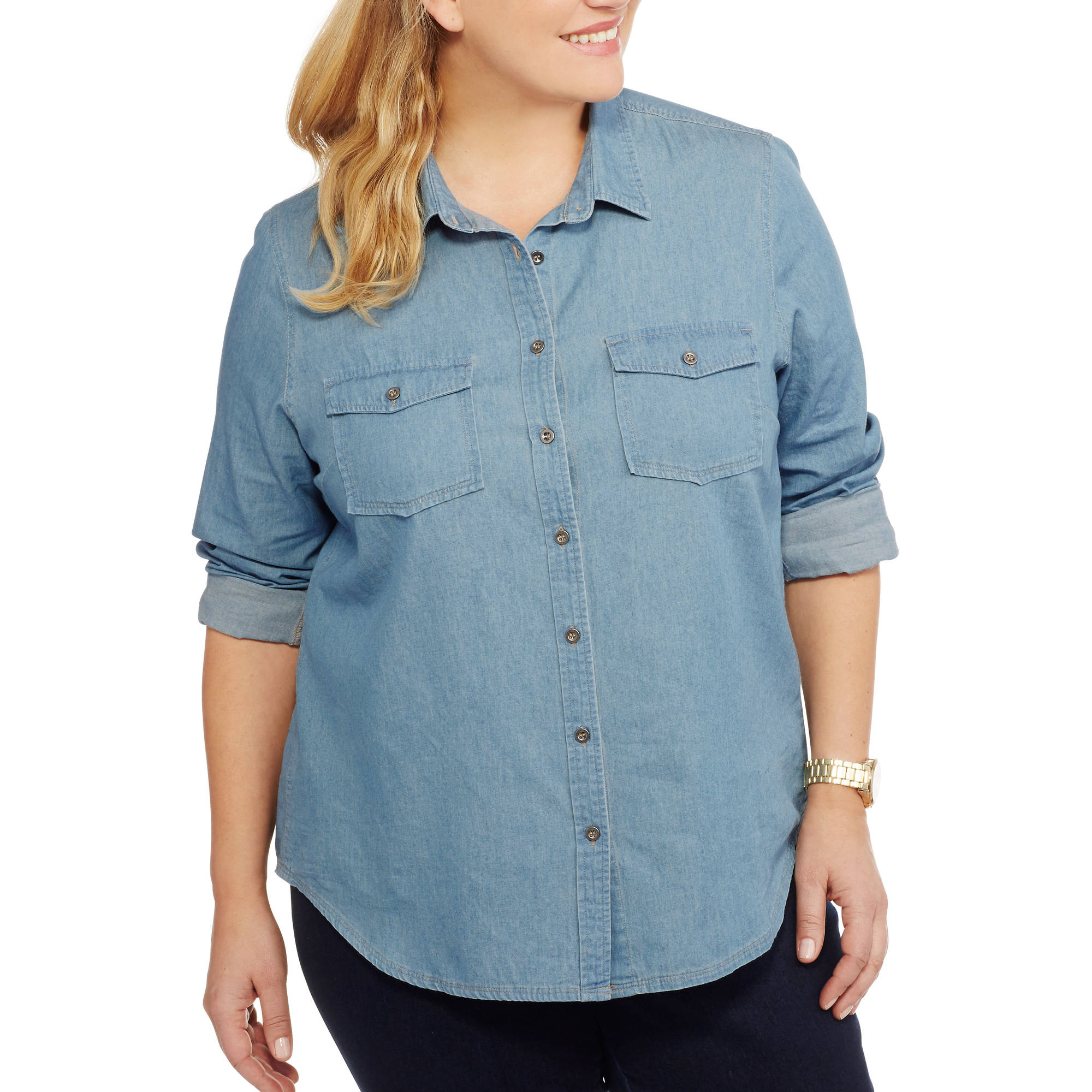 Brooke Leigh Women's Plus Lightweight Chambray Shirt