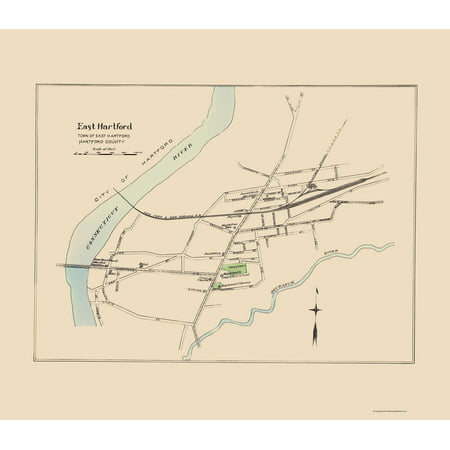 Old City Map - East Hartford Connecticut - Hurd 1893 - 23 x 26.44 ...