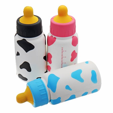 Huge Milk Nursing Bottle Squishy 25x9.5x9.5CM Giant Slow Rising With Packaging Soft Toy- Black /Pink /Blue