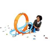 Hot Wheels Massive Loop Mayhem Track Set with 28-In Wide Track Loop & 1 Car