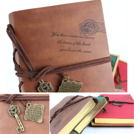 Meigar Classic Retro Vintage Magic Key String Leather Note Book Notepad  Diary Notebook Writing Sketchbook Journal Blank -