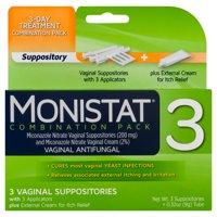 Monistat 3-Day Yeast Infection Treatment, Suppositories + Itch Cream