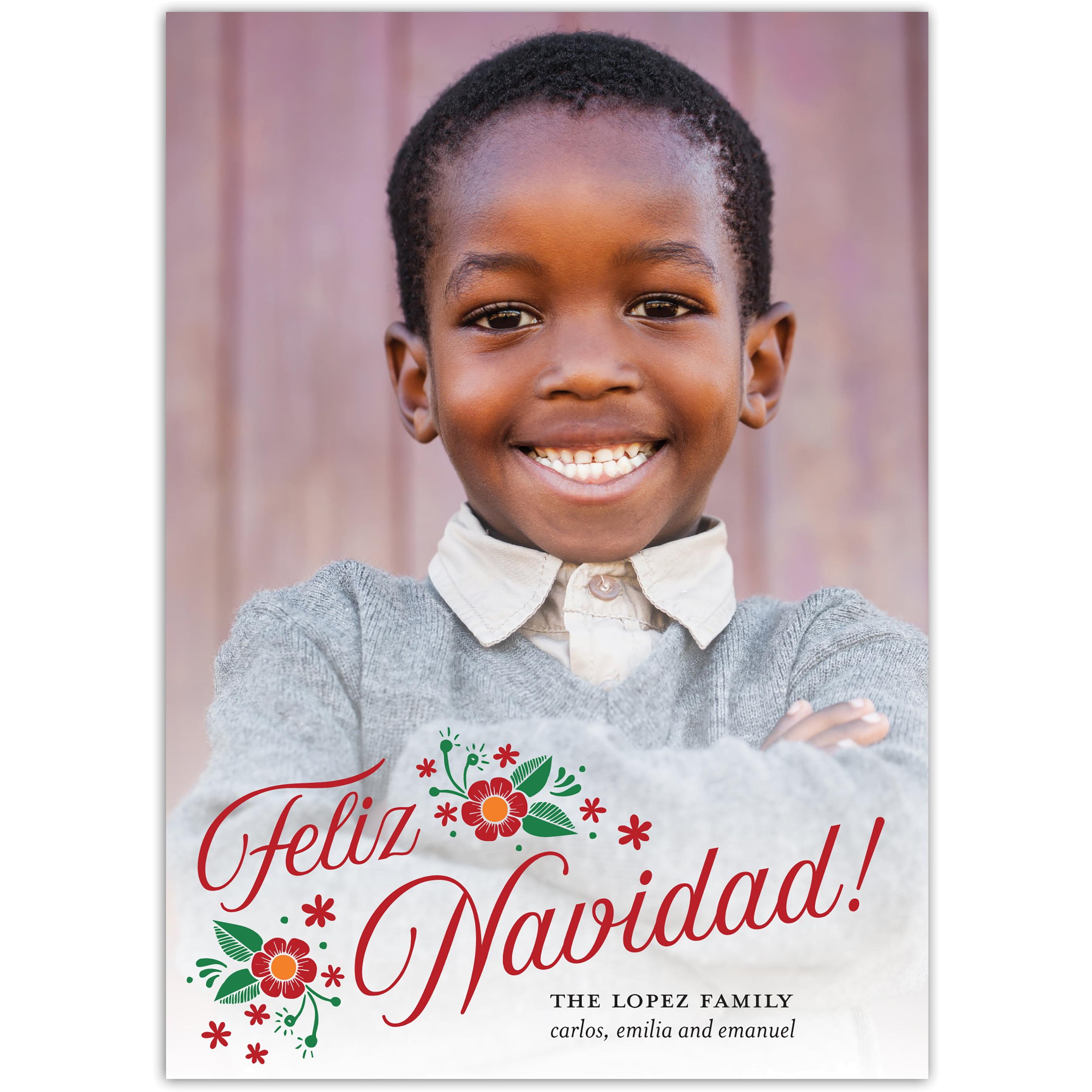 Floral Feliz - 5x7 Personalized Feliz Navidad Card