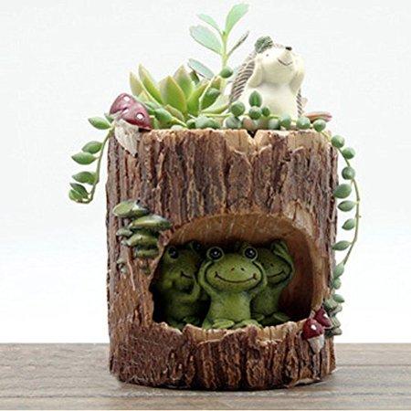 Tinksky Cute Green Frog Flower Sedum Succulent Pot Planter Bonsai Trough Box Plant Bed Office Desk Home Garden Pot Decor Green Frog Pot
