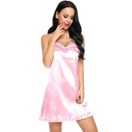 2018 The Newest Women Sexy Lingerie Satin Full Slip Ruffled Nightgown  Sleepwear with G-String HFON - Walmart.com 4e5ed33d8