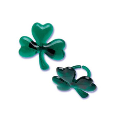 DMC41S-46 12-Pack Shamrock Glitter Ring Decorative Cake Topper, St. Patrick's Day, Green, Cupcake and cake decorations, perfect to decorate your party desserts By Dress My Cupcake