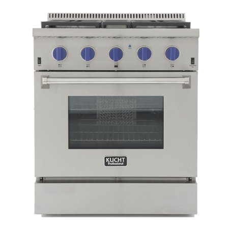 KUCHT Professional 30 in. 4.2 cu. ft. Dual Fuel Range for Natural Gas with Sealed Burners and Convection Oven in Stainless Steel with Royal Blue