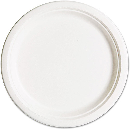 Eco-Products Natural Compostable Sugarcane 10 Inch Plates, 500 Plates
